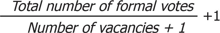 Hare-Clark Quota formula 1