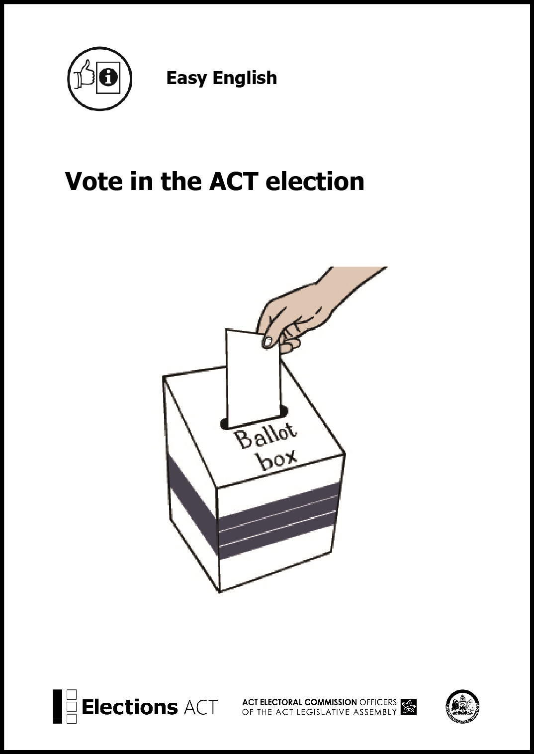 Front cover of Easy English guide to the ACT election - version for printing