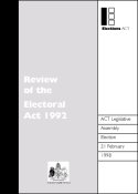 1998 ACT Legislative Assembly Election - Review of the Electoral Act 1992